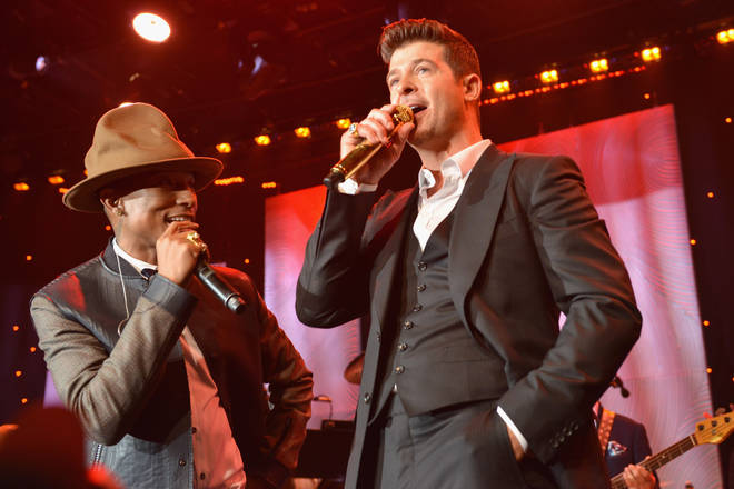 Pharrell Williams and Robin Thicke performed 'Blurred Lines' during the 56th annual GRAMMY Awards