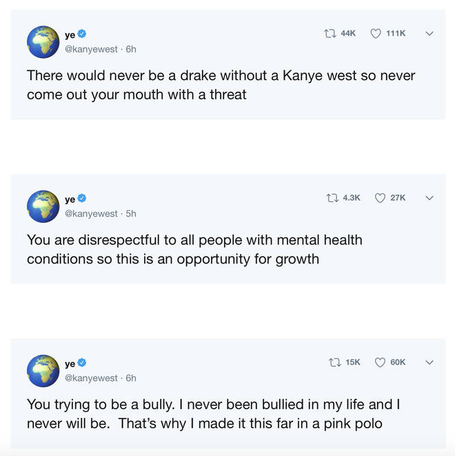 Kanye West slammed Drake as a bully in a Twitter rant