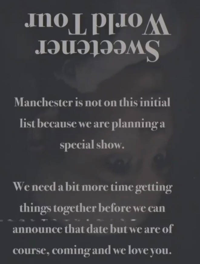 Ariana Grande confirms a 'special show' in Manchester as part of Sweetener Tour
