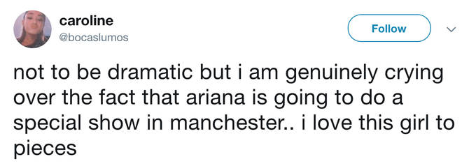 Ariana Grande's fans praise the singer for putting on a special show in Manchester