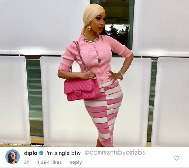 Diplo's comment on Cardi B's post was seriously flirty.