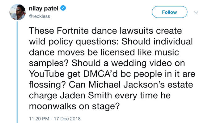 Twitter asks how far you can 'own' a dance move after Fortnite law suit