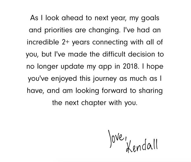 Kendall Jenner's 2017 statement.