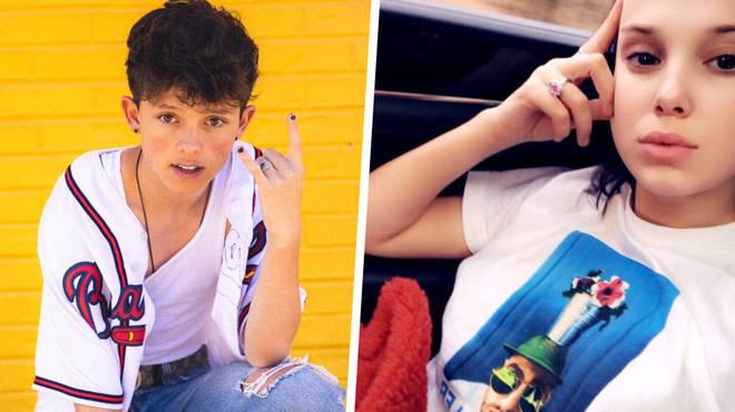 Millie Bobby Brown wearing Jacob Sartorius' t-shirt