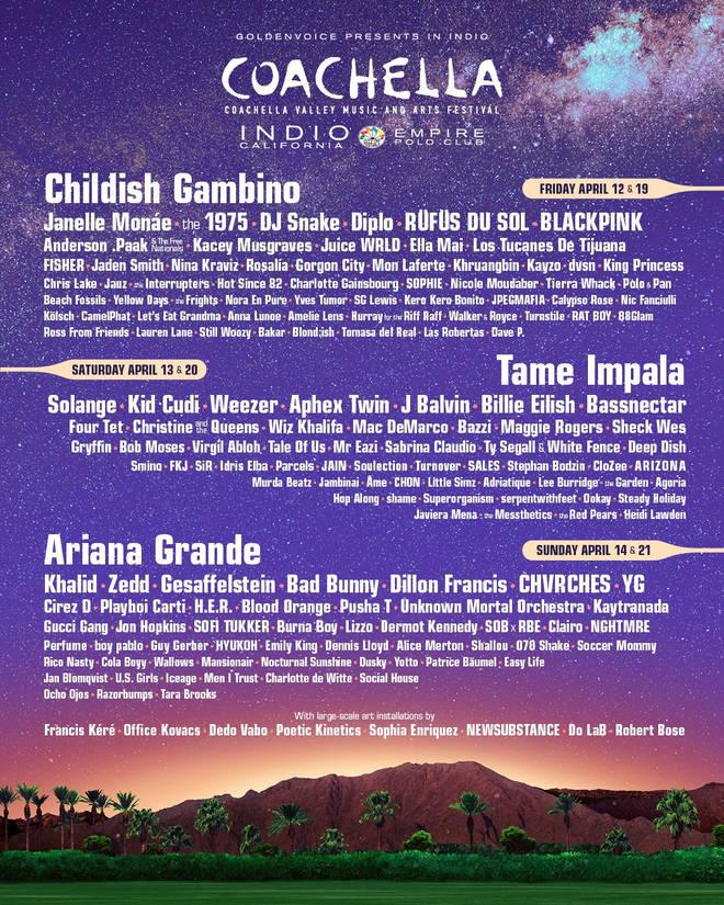 The full Coachella 2019 line-up.