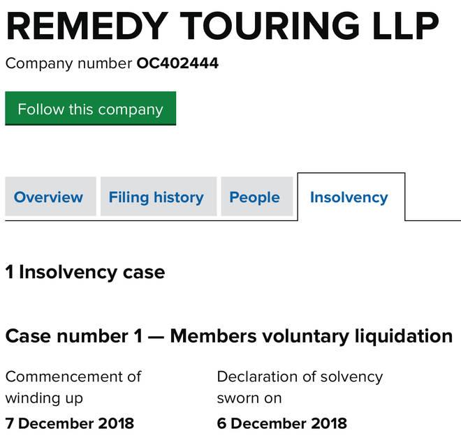 Adele files for voluntary liquidation.