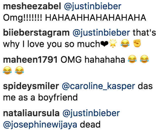 Fans laughing at Justin Bieber's Instagram comment to Hailey Baldwin