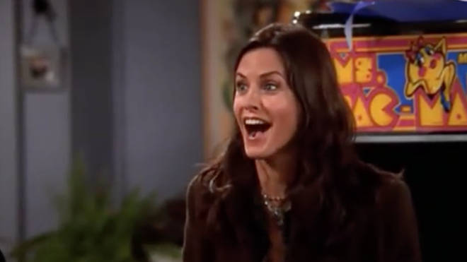 Monica Geller was excited to unwrap her new gift.