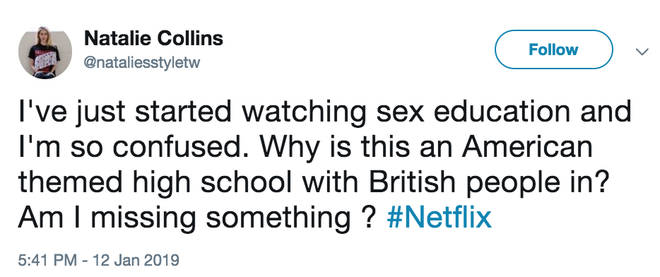 People took to Twitter confused about the American/British mash-up in Sex Education
