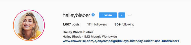 Hailey Baldwin changes her Instagram name to Hailey Bieber, confirming their marriage