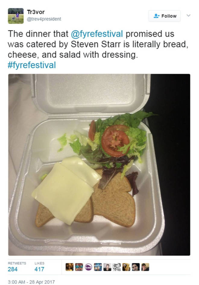 Fyre Festival went viral after 'luxury meal' revealed to be cheese and bread