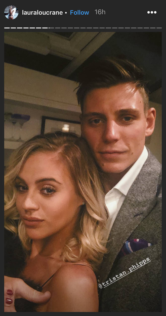 Laura Crane and Tristan Phipps before stepping out on their first public outing as a couple.