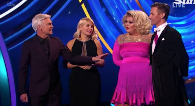 Philip Scofield and Holly Willoughby try to calm Gemma Collins down on Dancing On Ice