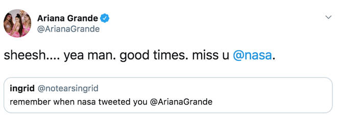 Ariana Grande reminisces about when NASA tweeted her