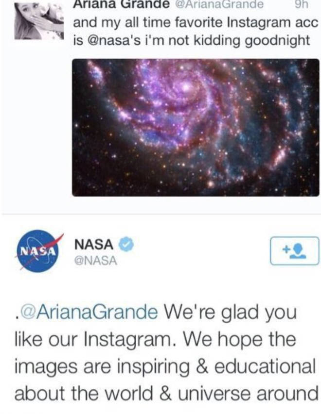 Ariana Grande says her favourite Instagram account is NASA