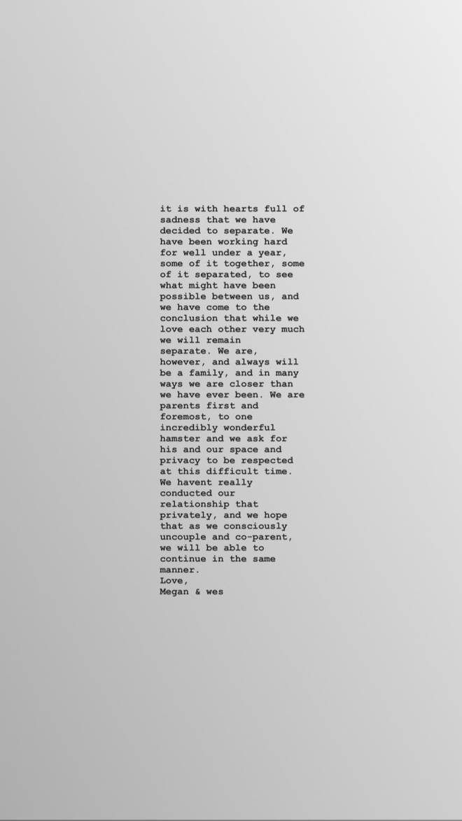 Megan Barton Hanson announced their split in an Instagram Story
