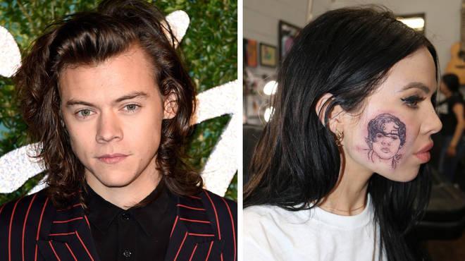 Kelsy Karter tattooed Harry Styles face on her cheek.