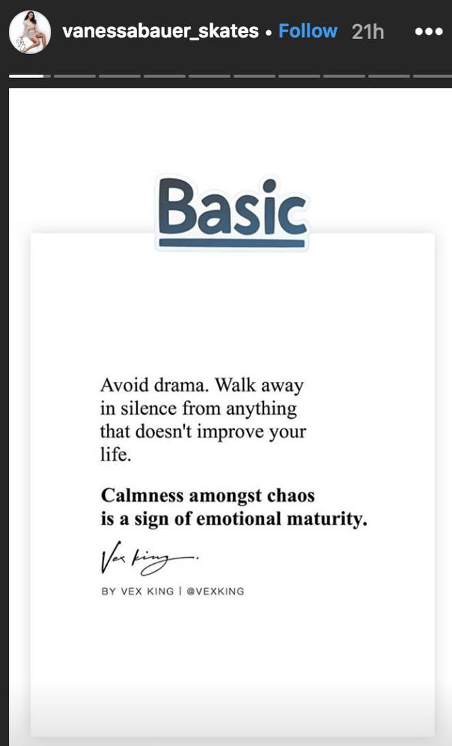 Vanessa Bauer posts 'calmness amongst chaos' message