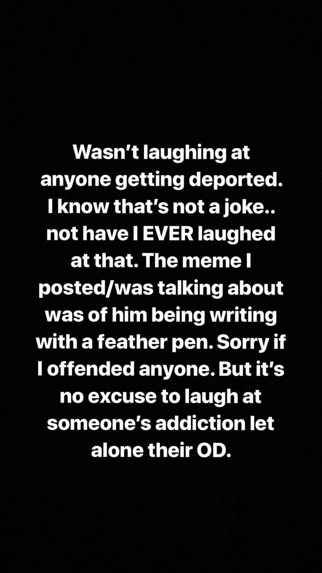 Demi Lovato apologised for her posts on her Instagram Story