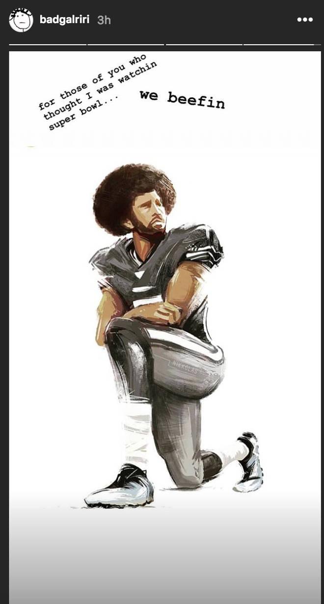 Rihanna boycotts the Super Bowl in solidarity with Colin Kaepernick