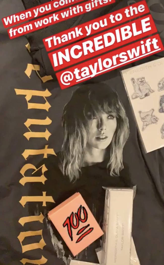 Eric Underwood shows off his gifts from Taylor Swift