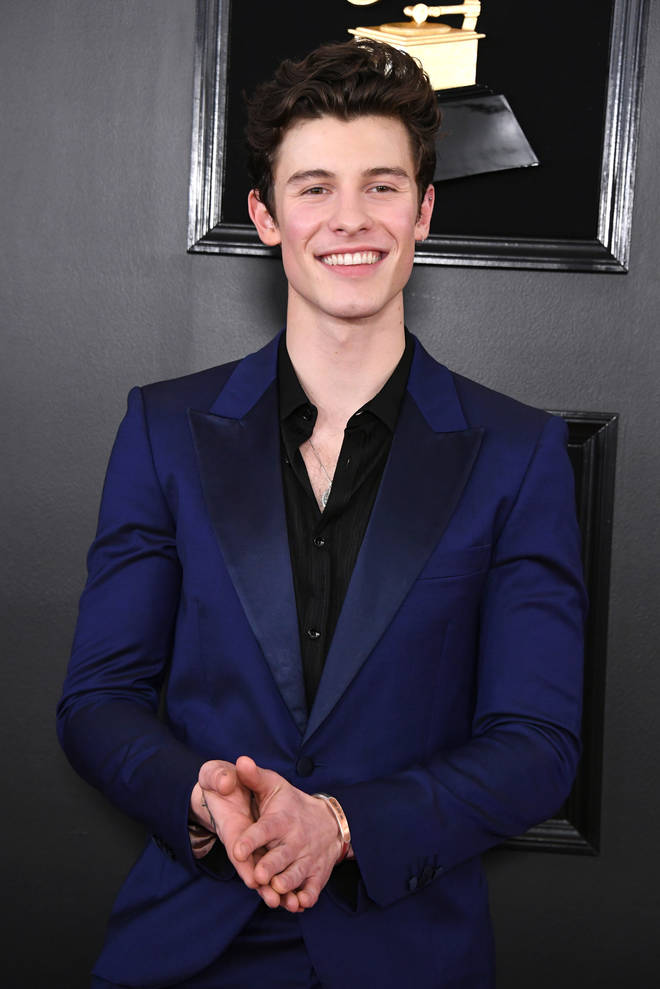 Shawn Mendes opted for a navy blue suit for this year's GRAMMYs