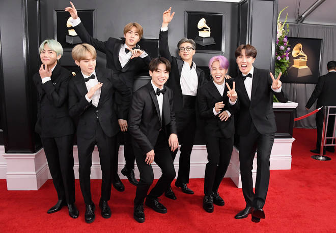 BTS turned out in custom Korean Tuxedos for their first GRAMMY awards