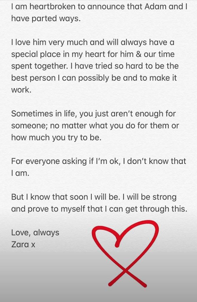 Zara McDermott announced her split from Adam Collard on Instagram