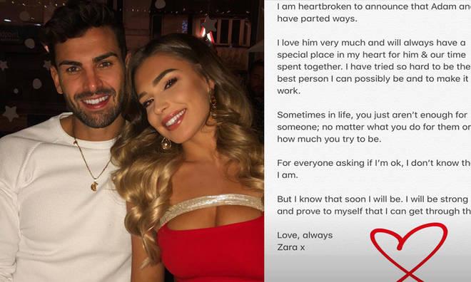 Zara McDermott and Adam Collard have announced their split