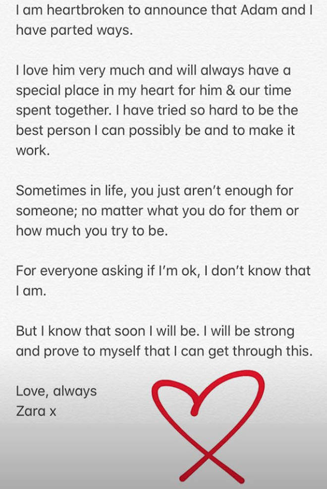 Zara McDermott posts emotional break up statement on Instagram