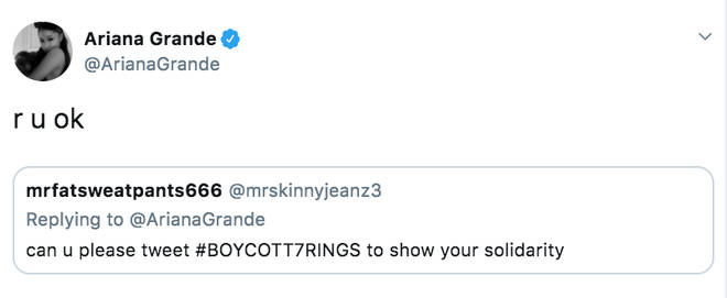 Ariana Grande responds to fan who asks her to boycott 7 Rings