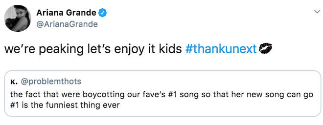 Ariana Grande tells fans she's 'peaking'
