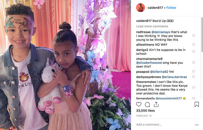 Caiden Mills posts photo with North West captioned 'boo'd up'
