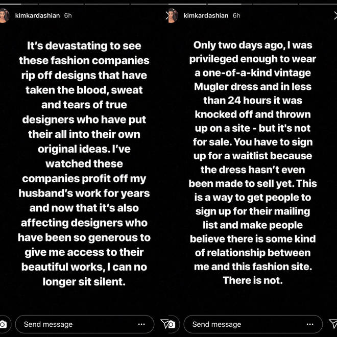 Kim Kardashian called out fast fashion brands.