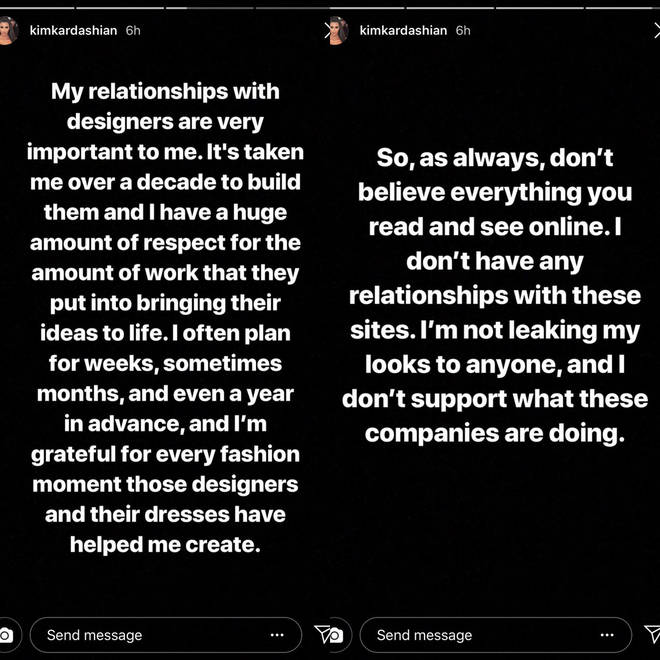 Kim told her fans she isn't associated with Fashion Nova.