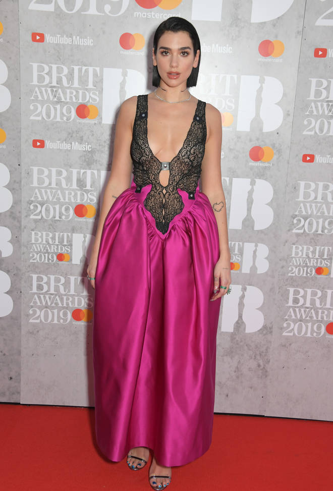 Dua Lipa rocks the BRITs 2019 red carpet
