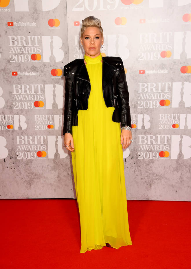 Pink turns up to receive her Outstanding Contribution to Music award at the BRITs 2019