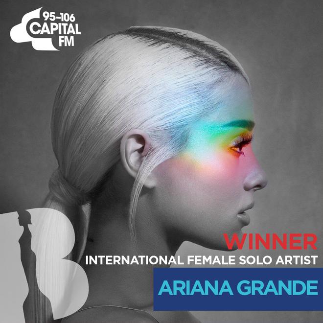 BRITs 2019 International Female Solo Artist winner - Ariana Grande