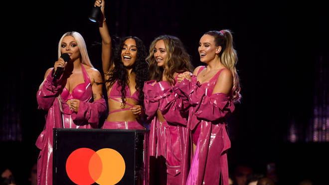 Little Mix celebrated their BRITs win.