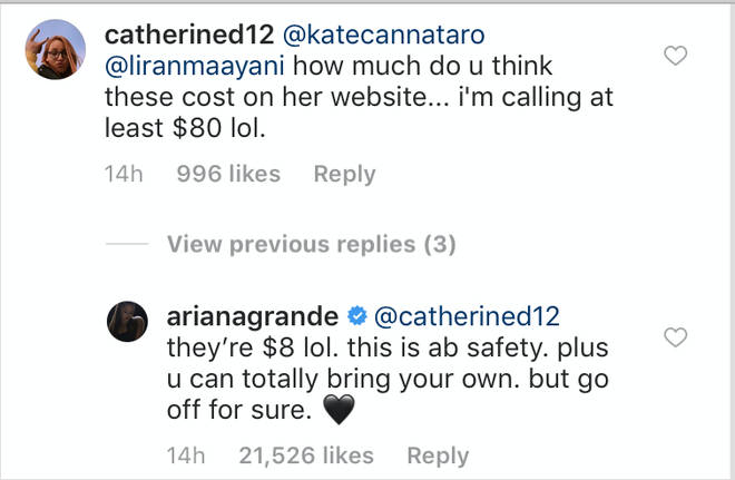 Ariana Grande hits back at claims her clear bag merchandise will be expensive