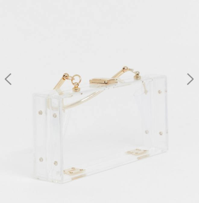 Clear plastic clutch from ASOS own collection