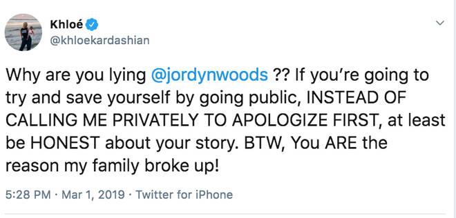Jordyn Woods branded a liar by Khloé Kardashian