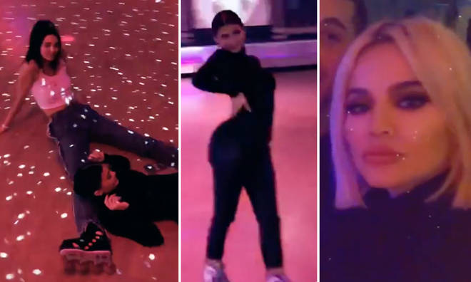 The Kardashian sisters reunited for a roller disco