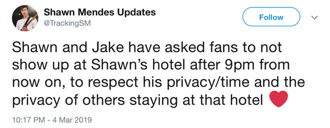 Shawn Mendes has asked fans to respect his privacy while on tour
