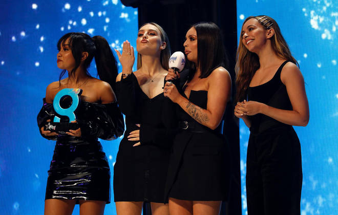 Little Mix accepting their award at The Global Awards 2019 with Very.co.uk