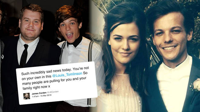 Celebrities - such as James Corden - sent their wishes to Louis Tomlinson following his sister's death