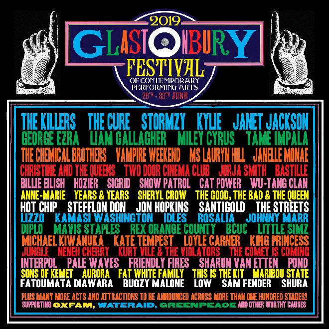 Glastonbury festival's 2019 line-up.