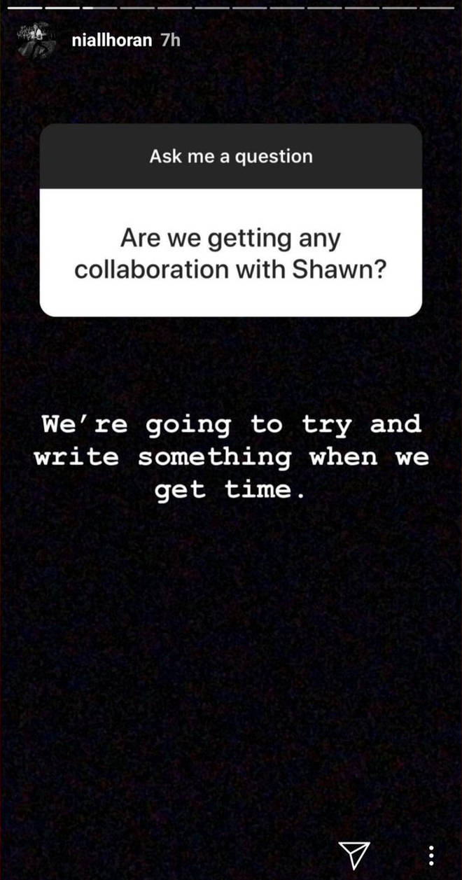 Niall Horan confirmed a collaboration with Shawn Mendes on his Instagram Story