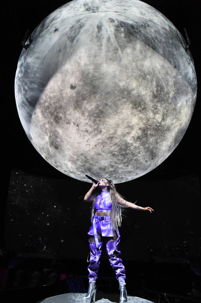 Ariana looked like the ultimate intergalactic princes in this purple and silver number.