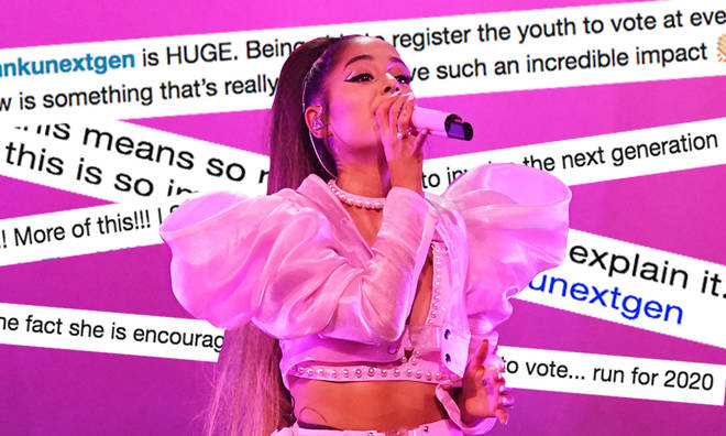 Ariana Grande is encouraging her younger fans to register to vote